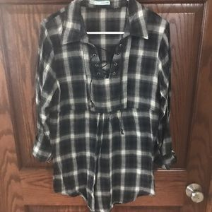 Maurices black and white plaid tunic